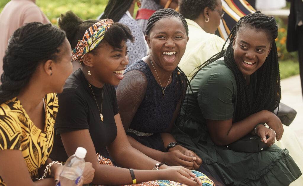 Attendees laugh outside during the Durban South Africa Temple dedication in Umhlanga, South Africa, on Sunday, Feb. 16, 2020.