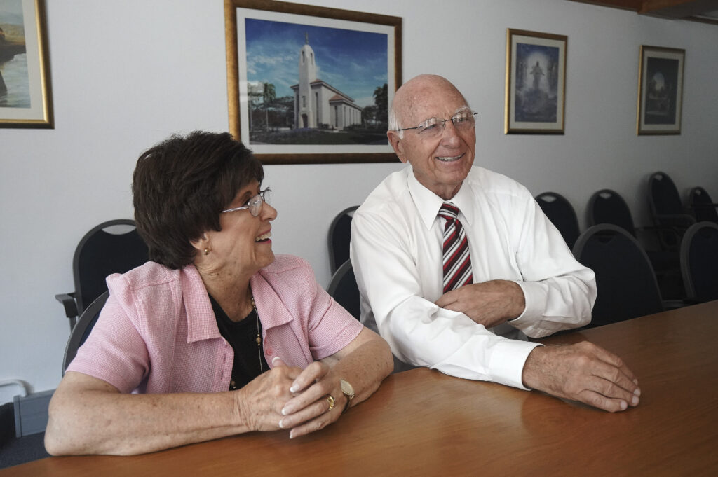 Colin Bricknell and his wife Jennifer talk about the new Durban South Africa Temple in Durban, South Africa, on Feb. 14, 2020.