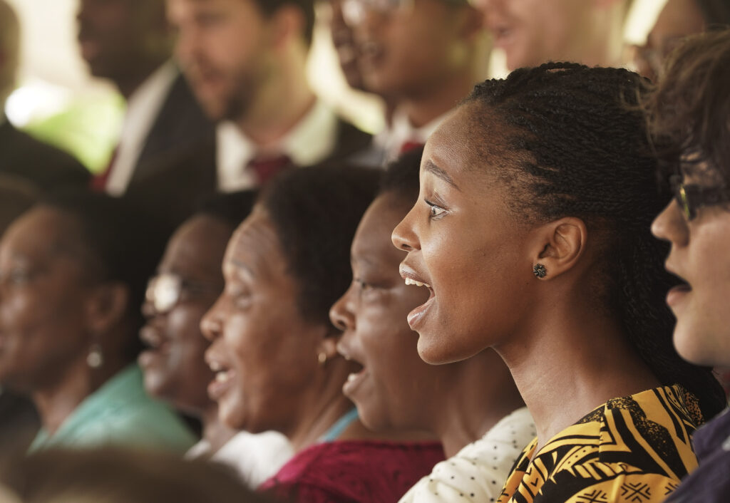The choir sings during the cornerstone ceremony of the Durban South Africa Temple dedication in Umhlanga, South Africa, on Sunday, Feb. 16, 2020.