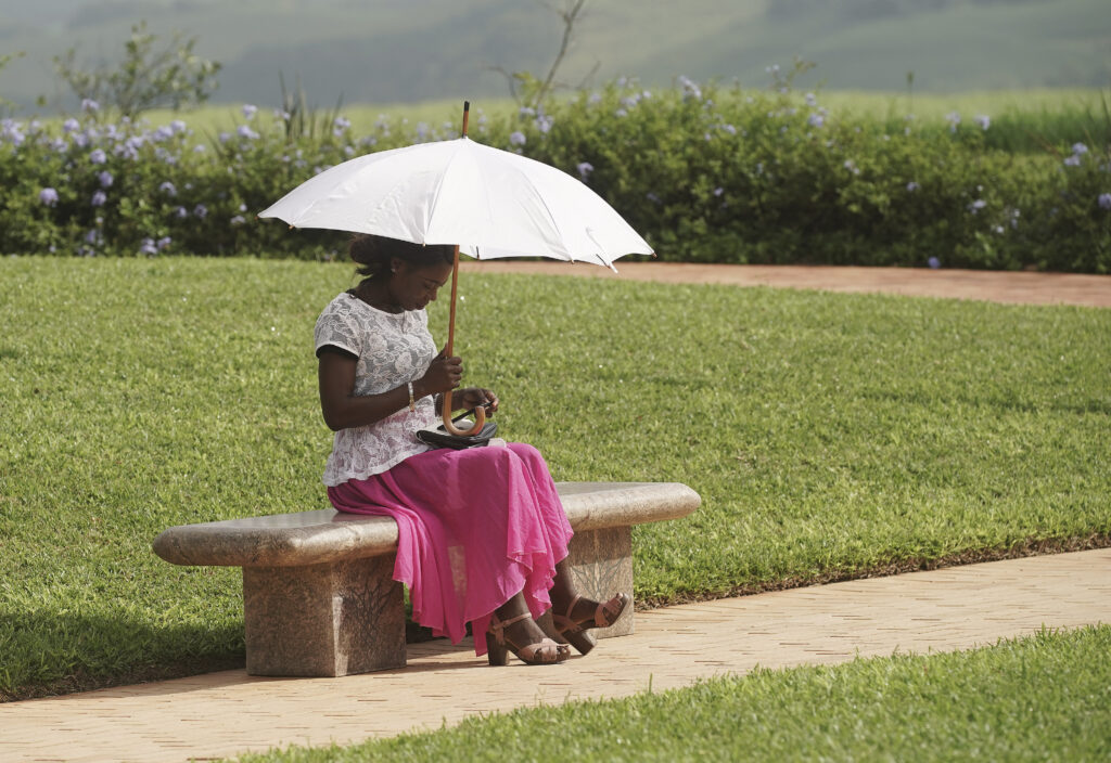 Agnes Agyapong waits for the next session during the Durban South Africa Temple dedication in Umhlanga, South Africa, on Sunday, Feb. 16, 2020.