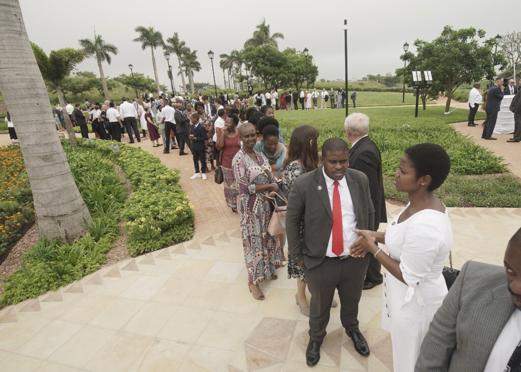 Attendees wait in line for a Durban South Africa Temple dedication session in Umhlanga, South Africa, on Sunday, Feb. 16, 2020.
