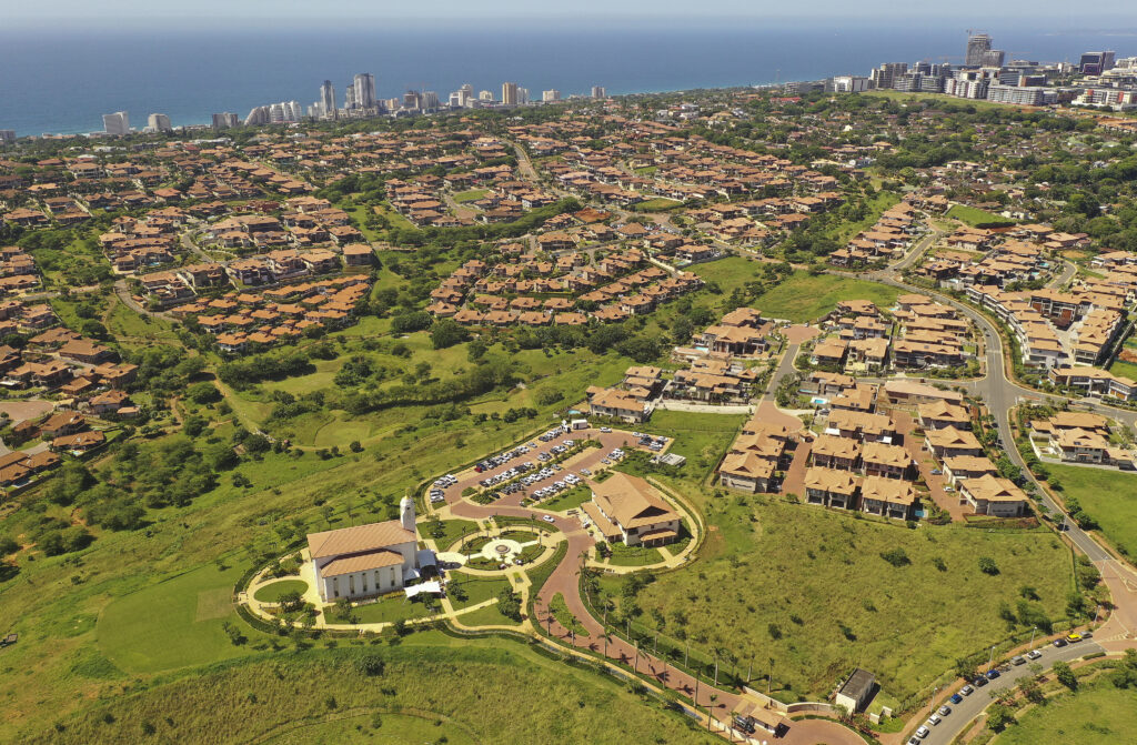 The Durban South Africa Temple sits atop a hill overlooking the Izinga RIdge development in Umhlanga, South Africa, on Sunday, Feb. 16, 2020.