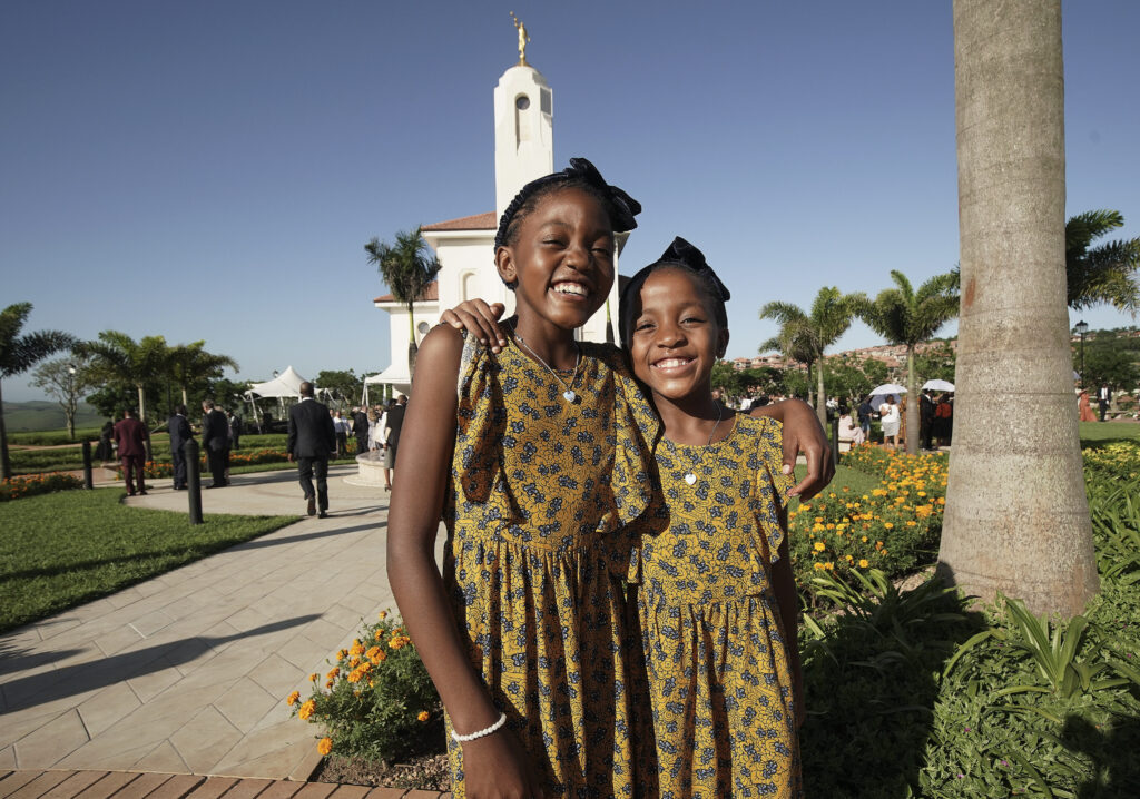 Bokang and her sister Awande Tshabalala attend the Durban South Africa Temple dedication in Umhlanga, South Africa, on Sunday, Feb. 16, 2020.