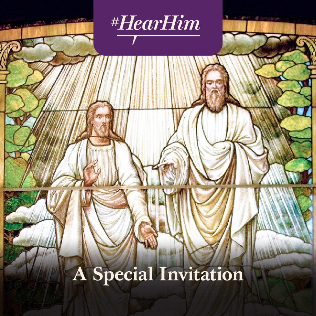 """Esta ilustración en vidrio artístico de la Primera Visión acompaña a la invitación del presidente Russell M. Nelson del 26 de febrero de 2020 a los miembros de la Iglesia de """"¡Oídlo!"""""""