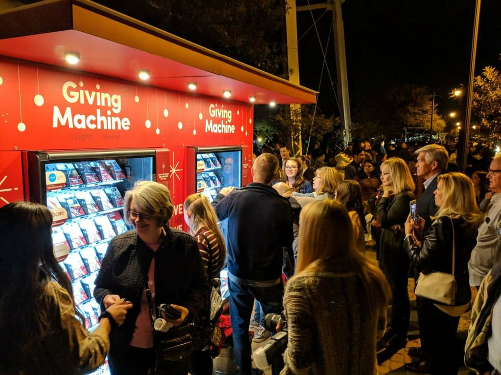During the 2019 #LightTheWorld campaign, Giving Machines were placed at 10 different locations around the world. The vending machines provided Church members and others with opportunities to sponsor specific service activities with the swipe of a bank card or cash to help partnering charities purchase items such as food, clothing, medicine, hygiene supplies, sporting equipment and livestock for the different demographics they serve.