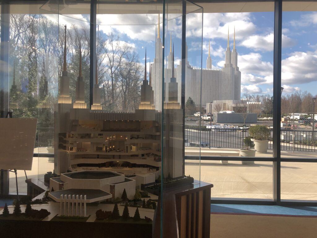 A model of the Washington D.C. Temple is featured in the visitors' center.