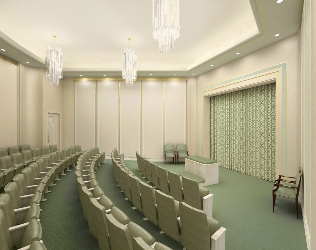 A rendering of an instruction room of the Washington D.C. Temple.