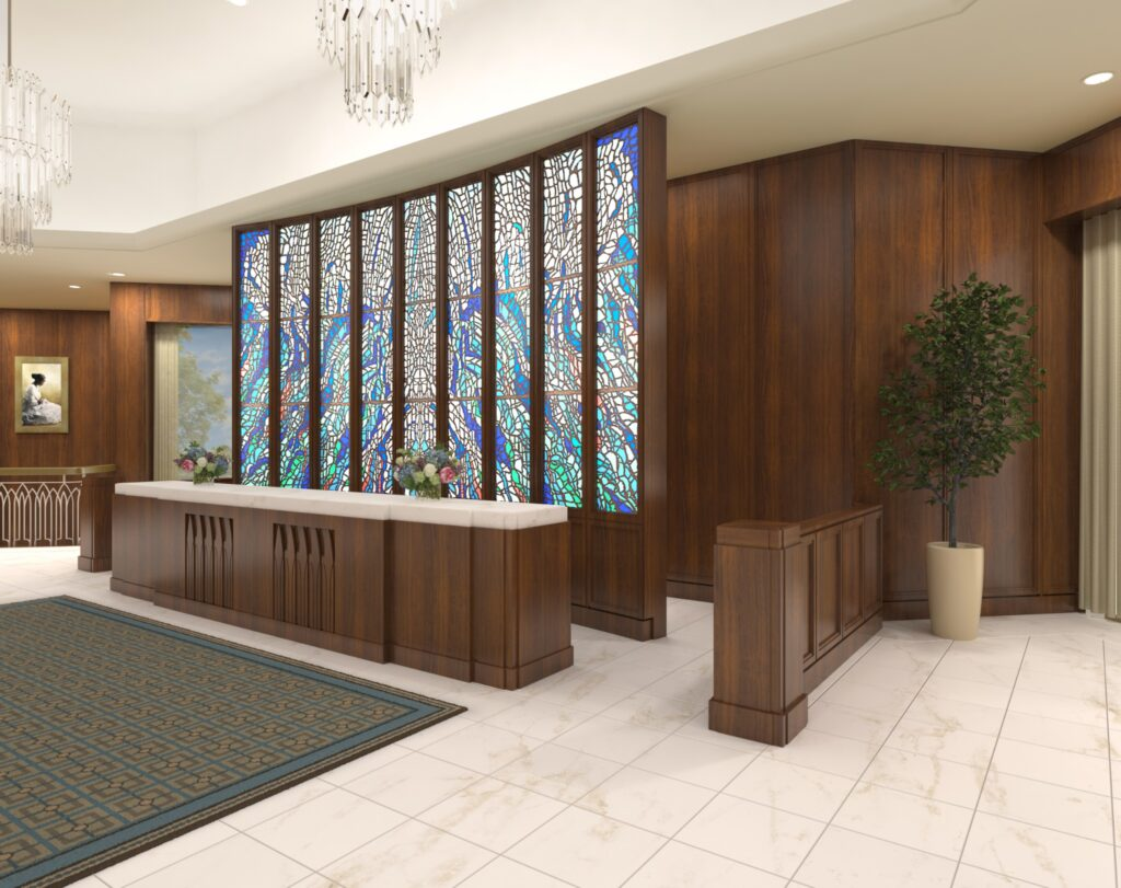 A rendering of the entry and recommend desk of the Washington D.C. Temple.