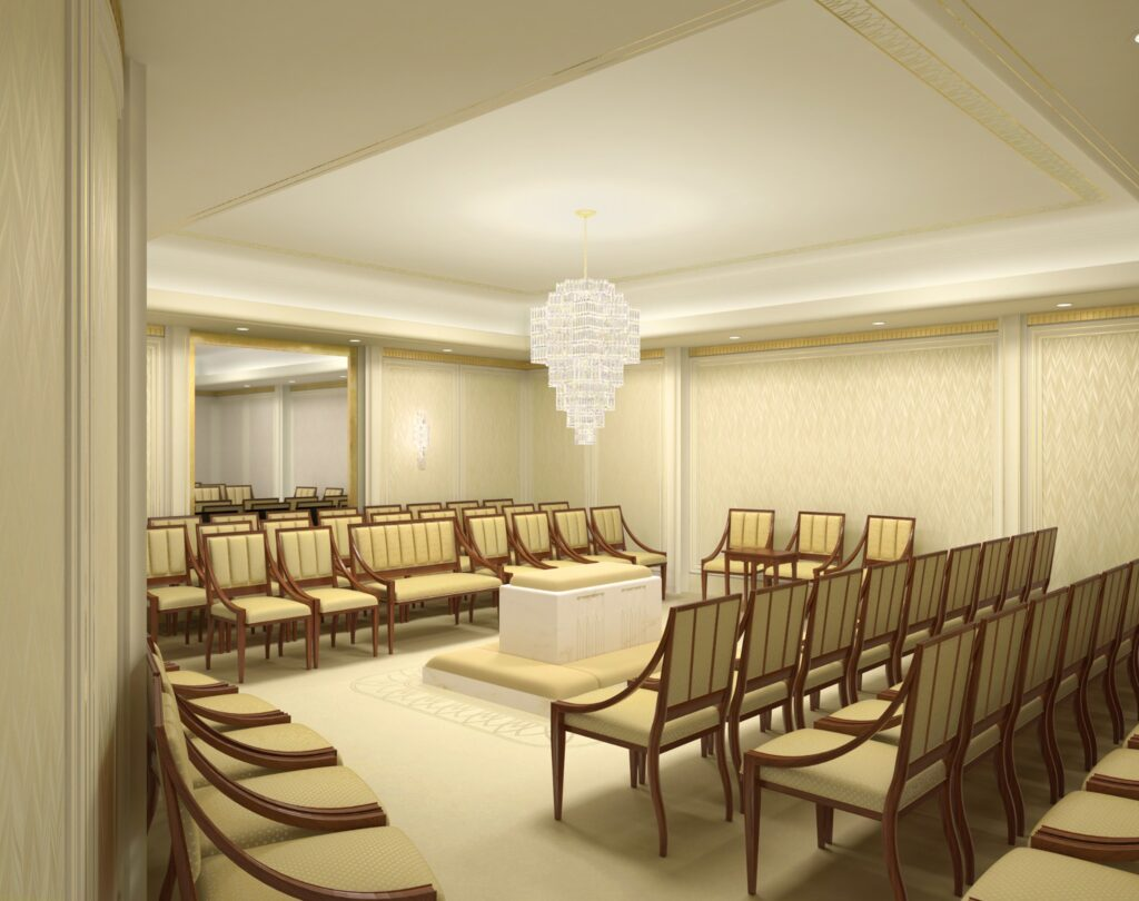 A rendering of a sealing room of the Washington D.C. Temple.