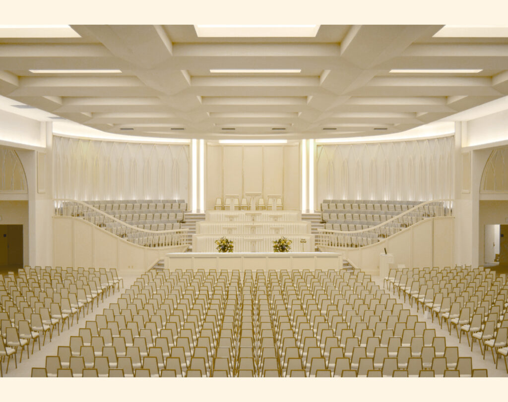 A rendering of the priesthood room of the Washington D.C. Temple.