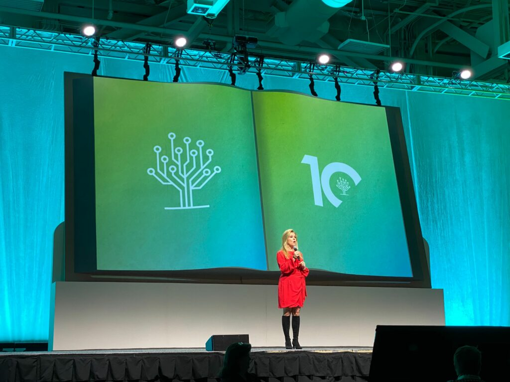 Leigh Anne Tuohy takes the stage as the keynote speaker for the second day of RootsTech 2020 at the Salt Palace Convention Center in Salt Lake City, Utah, on Feb. 27, 2020.