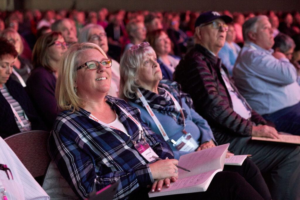 RootsTech attendees listen to a keynote address in the Salt Palace in Salt Lake City, Utah, on Wednesday, Feb. 27.