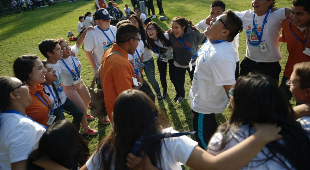 Young members of The Church of Jesus Christ of Latter-day Saints have fun during an activity at an FSY conference in 2015.