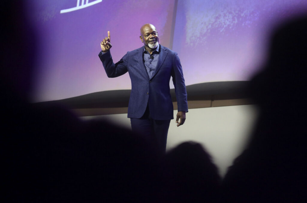 Former NFL star Emmitt Smith speaks during RootsTech SLC 2020 at the Salt Palace Convention Center in Salt Lake City on Saturday, Feb. 29, 2020.
