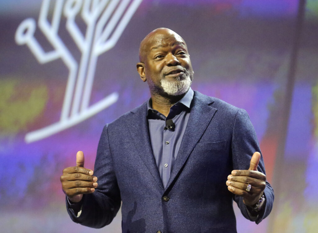 Former NFL star Emmitt Smith speaks during RootsTech at the Salt Palace Convention Center in Salt Lake City on Saturday, Feb. 29, 2020.