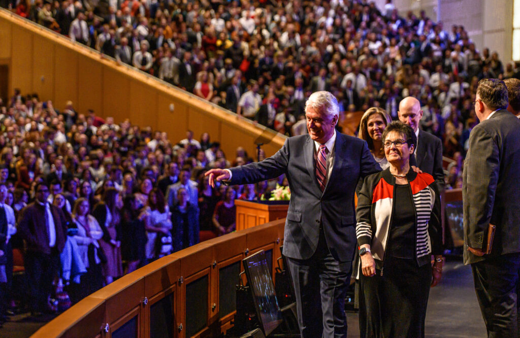 Elder Dieter F. Uchtdorf and Sister Harriet Uchtdorf bid farewell to BYU-Idaho students following March 1, 2020, Sunday evening devotional.