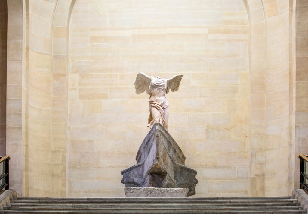 Winged Victory of Samothrace is a marble sculpture in the Louvre Museum, shown here in February 2016.