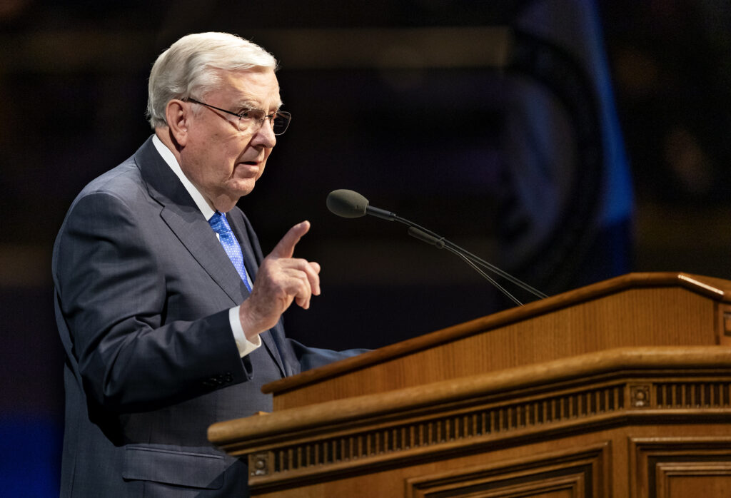 President M. Russell Ballard, acting president of the Quorum of the Twelve Apostles of The Church of Jesus Christ of Latter–day Saints speaks at a BYU devotional in the Marriott Center in Provo on Tuesday, March 3, 2020.