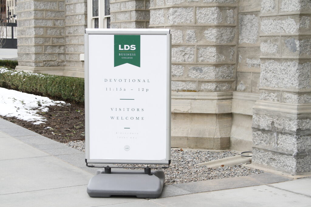 An LDS Business College devotional was held in the Assembly Hall on Temple Square in Salt Lake City on March 3, 2020.