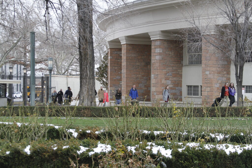 LDS Business College students walk across Temple Square for a devotional in the Assembly Hall on March 3, 2020.
