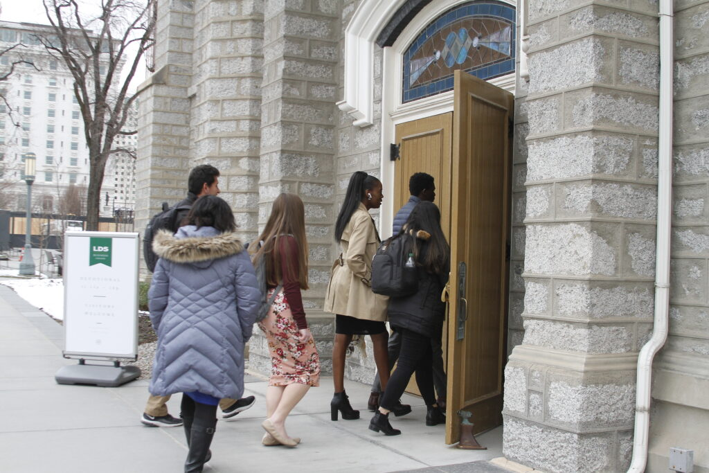 LDS Business College students enter the Assembly Hall for a devotional on March 3, 2020.