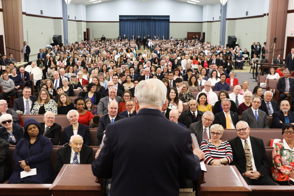 President M. Russell Ballard, acting president of the Quorum of the Twelve Apostles of The Church of Jesus Christ of Latter-day Saints, speaks at the Brampton Stake Center in Brampton, Ontario, Canada, March 8, 2020.