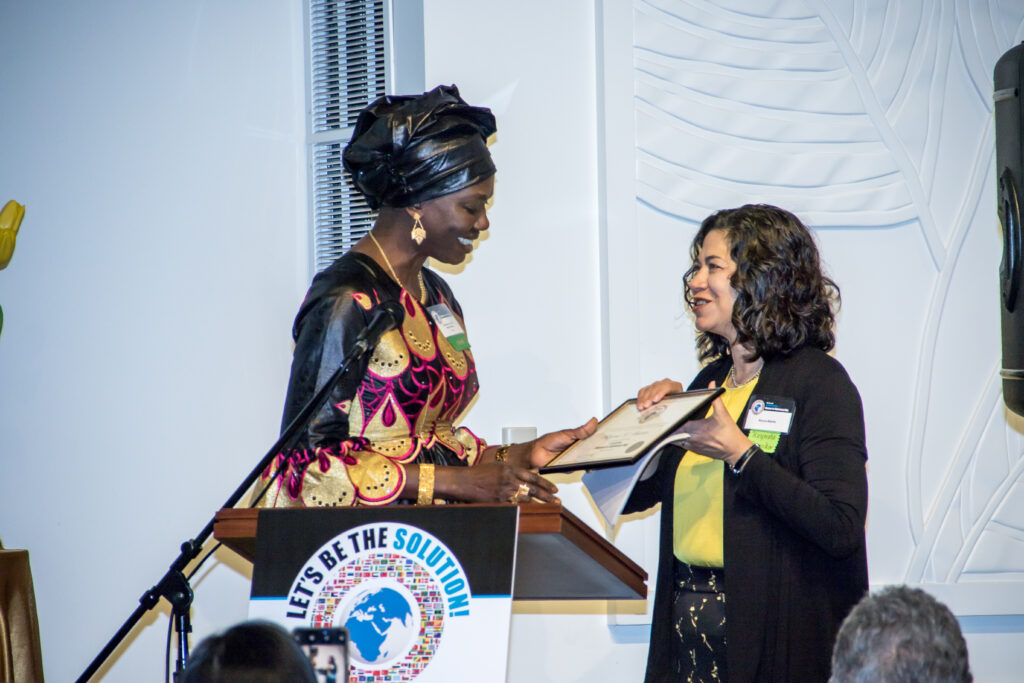 Sister Reyna Isabel Aburto, right, stands with Mame T. Mbaye, the Honorary Consul General for Senegal, at the fourth annual International Women-in-Diplomacy Day, which was held at the Los Angeles California Temple Visitors' Center on Monday, March 9, 2020.