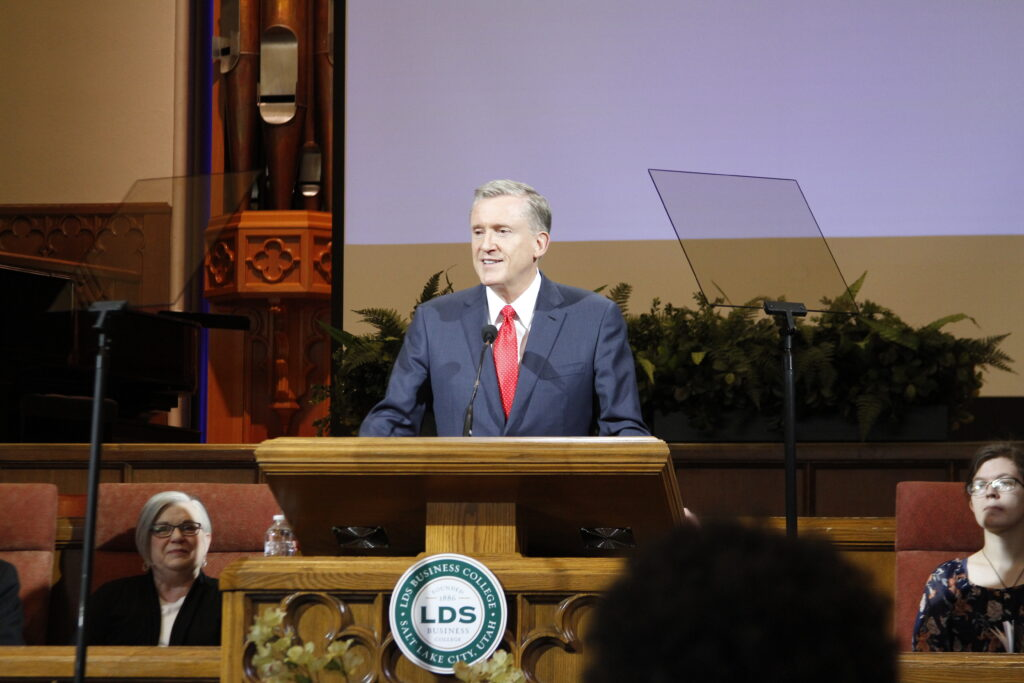 Elder Kevin R. Duncan speaks during the LDS Business College devotional held in the Assembly Hall on Temple Square on March 10, 2020.
