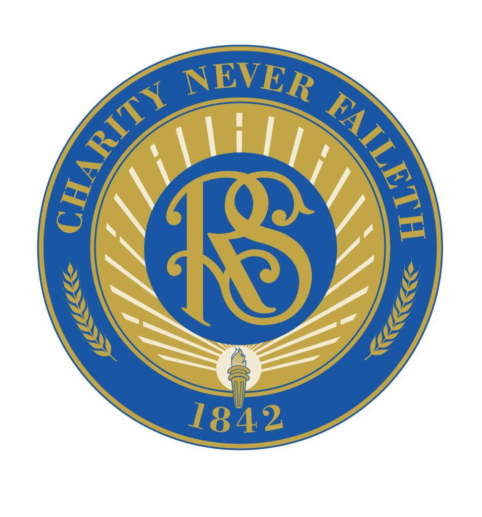 Sello de la Sociedad de Socorro con su lema 'La caridad nunca falla'
