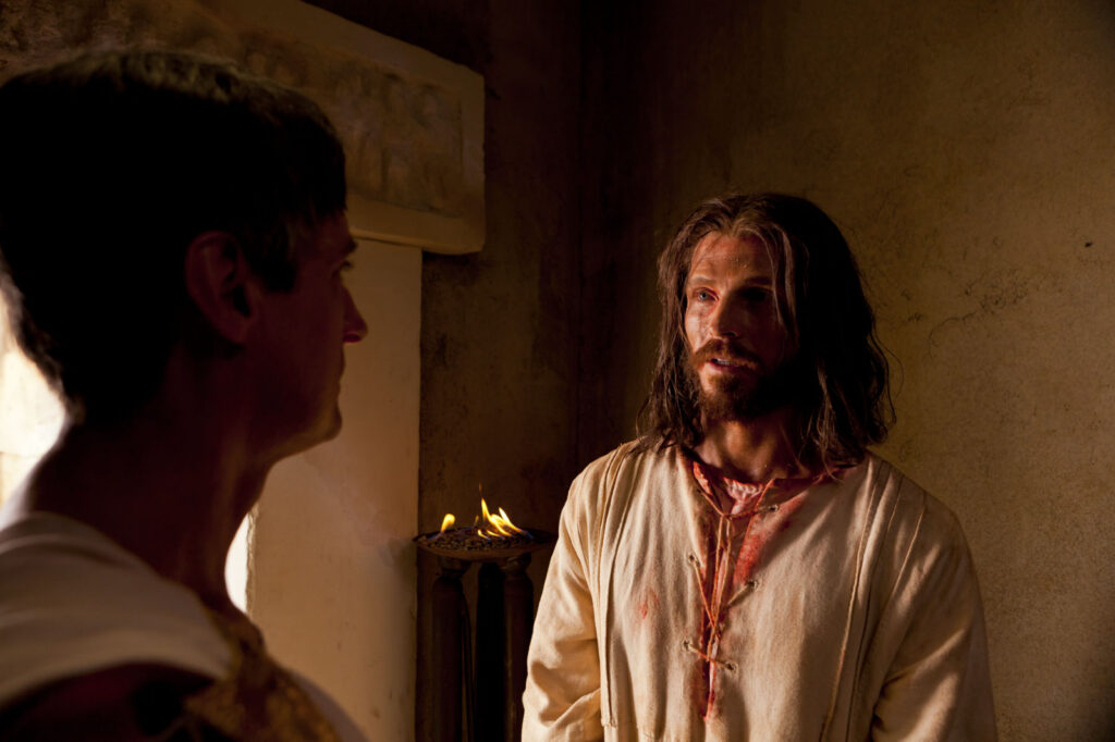 Jesus Christ meets with Pilate in private after being condemned in this scene from the Bible Videos.