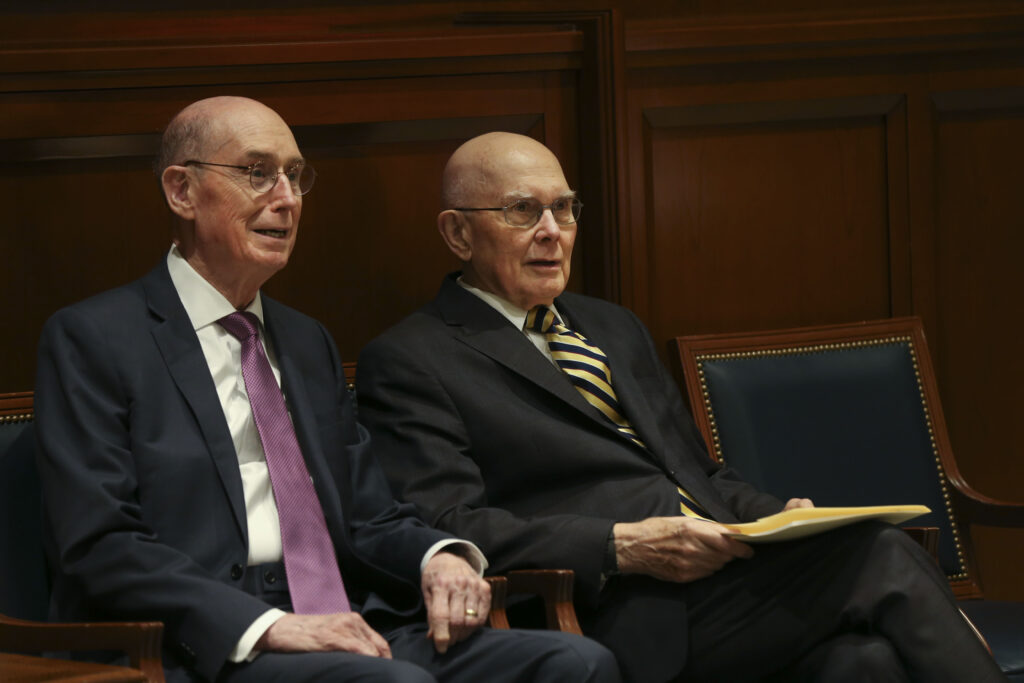 President Henry B. Eyring, left, and President Dallin H. Oaks, counselors in the First Presidency of The Church of Jesus Christ of Latter-day Saints, sit together prior to President Oaks' speech at the Church History Symposium at the Church Office Building in Salt Lake City on Friday, March 13, 2020.