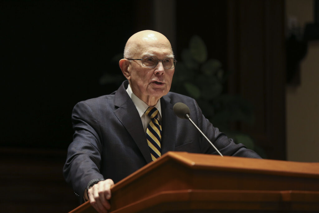 President Dallin H. Oaks, first counselor in the First Presidency of The Church of Jesus Christ of Latter-day Saints, speaks at the Church History Symposium at the Church Office Building in Salt Lake City on Friday, March 13, 2020.