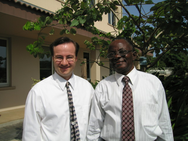 "Joseph William ""Billy"" Johnson, right, one of the first members of the Church of Jesus Christ of Latter-day Saints in Ghana, poses with Church historian Clint Christensen in 2005."