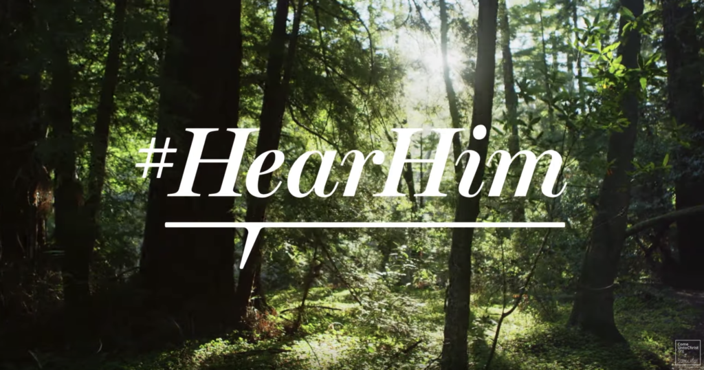 Screenshot from the new #HearHim video produced for the Church.