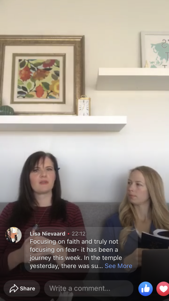 Christa Woodall, left, and her roommate, Christina Davis, host a Facebook Live Sabbath gathering from their home in northern Utah. Dozens participated in the virtual gathering. Traditional gatherings were cancelled because of the coronavirus pandemic.