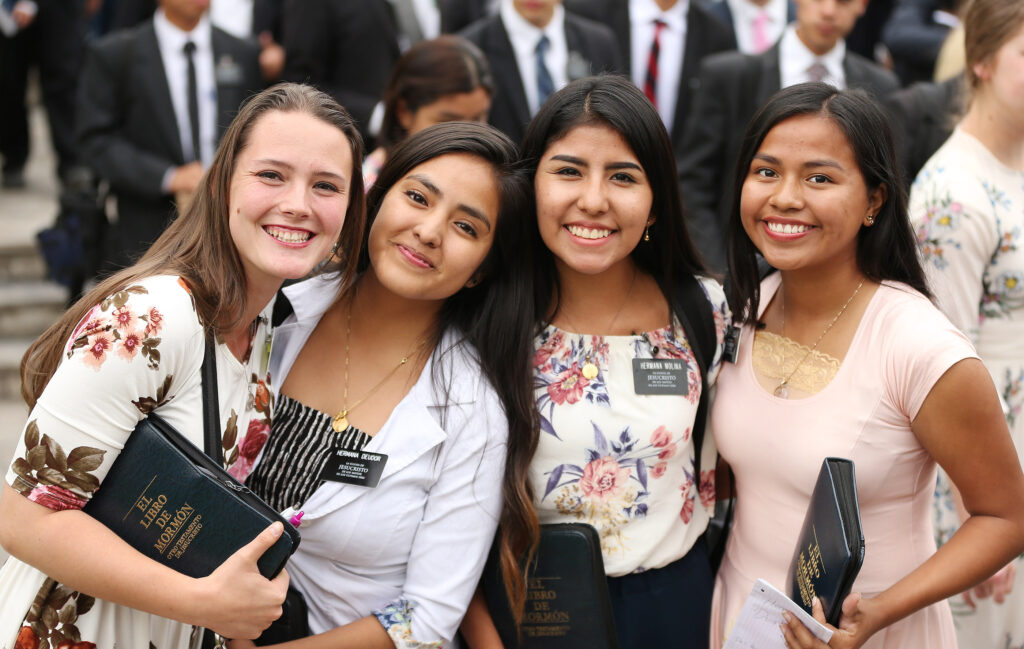Sister missionaries smile after meeting with President Russell M. Nelson of The Church of Jesus Christ of Latter-day Saints in Lima, Peru, on Oct. 20, 2018.