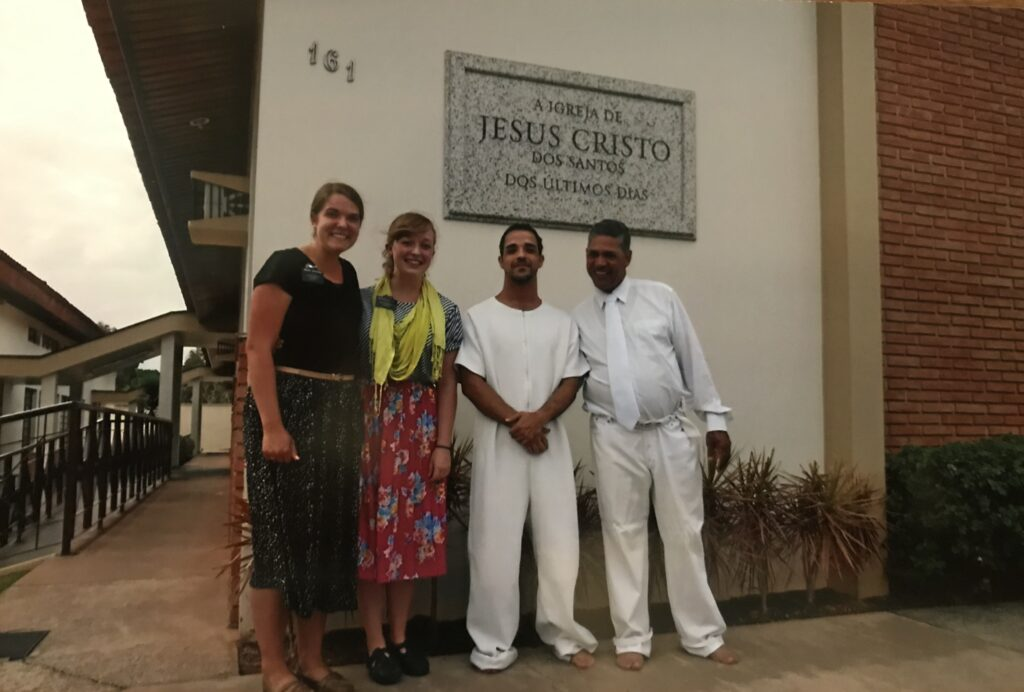 Sister Sydney Jorgensen Walker, left, and her companion, Sister Audrey Lowther, are pictured with Eduardo de Campos on his baptism day in August 2014 in Votorantim, Sao Paulo, Brazil. Joaquim Gomes, ward mission leader, is on the right.