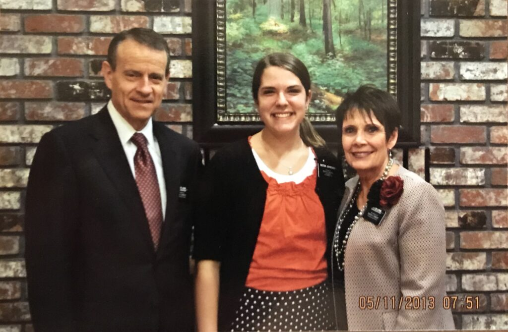 Sister Sydney Jorgensen Walker, middle, is pictured with President Benson Lewis and Sister Julie Lewis of the California Sacramento Mission in November 2013.