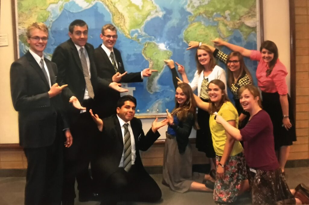 Sister Sydney Jorgensen Walker, second from right on bottom row, is pictured with her district at the missionary training center in Provo, Utah, in September 2013. From left: Elder Mike Warren, Elder Dallas Schoen, Elder Caleb McArthur, Elder Sam Zenteno, Sister Kaitlyn Johnson, Sister Ashley West, Sister Gabrielle Pinon, Sister Audrey Lowther and Sister Chelsea Armstrong.