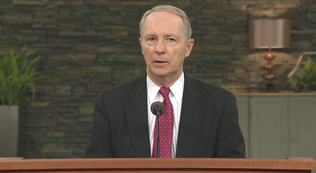 President Bruce C. Kusch speaks at an LDS Business College devotional Tuesday, March 17. The devotional was livestreamed due to the ongoing COVID-19 pandemic.