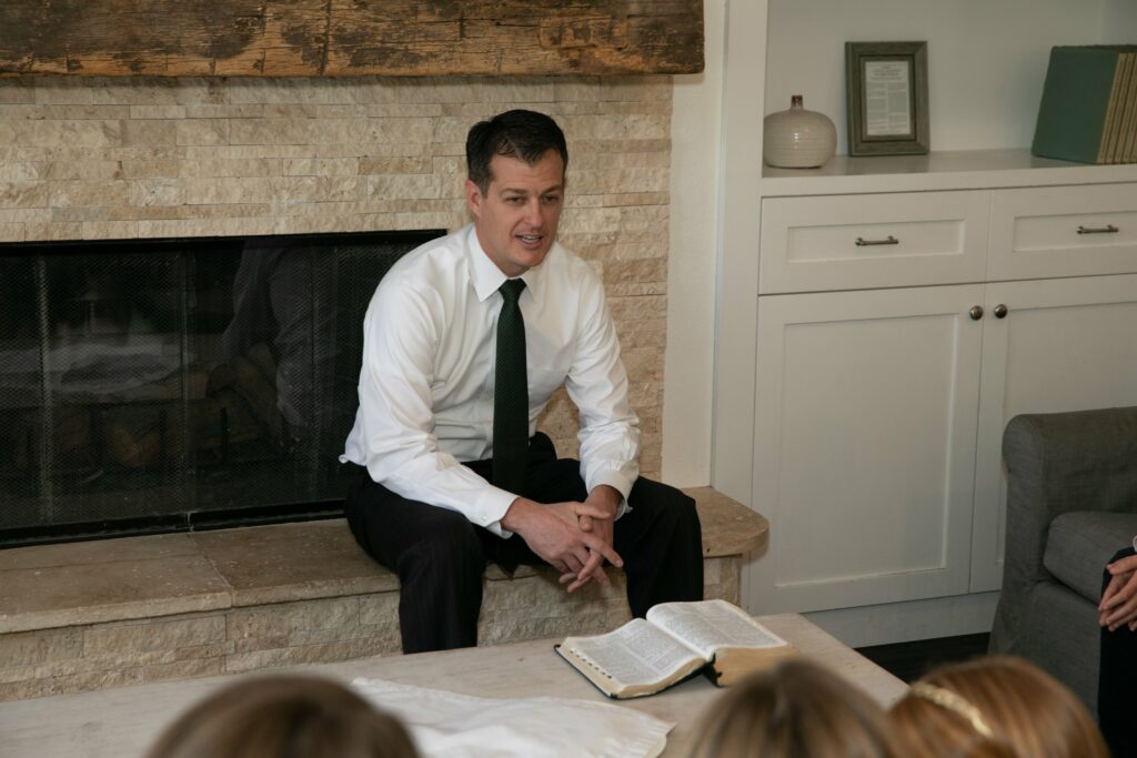 Bishop Darren L. Harline teaches from the scriptures as he and his family observe the Sabbath in their home in San Clemente, California, on March 15, 2020, after the Church suspended all meetings in the wake of the COVID-19 pandemic.
