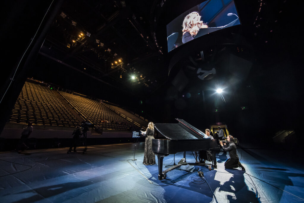 """Korianne Orton Johnson, an assistant teaching professor in the School of Music at BYU, performs """"Savior, Redeemer of My Soul"""" during a devotional broadcast from the Marriott Center in Provo, Utah, on March 17, 2020."""