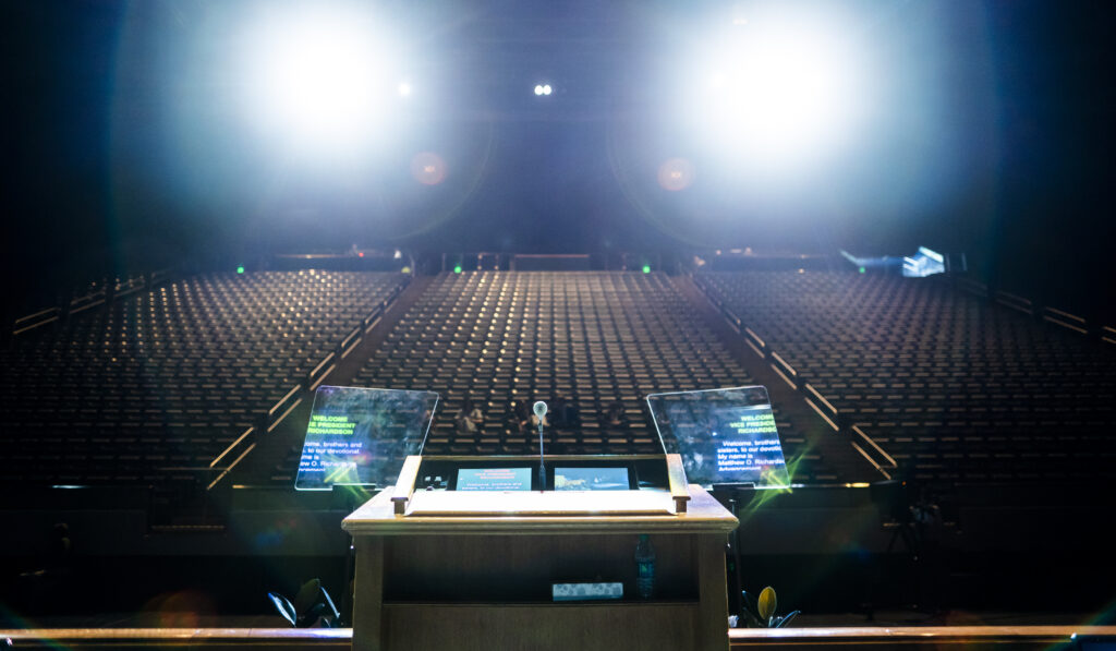 The podium and teleprompters are photographed before a devotional broadcast live from BYU's Marriott Center in Provo, Utah, on March 17, 2020.