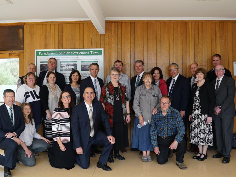 Church and community representatives participated in a humanitarian donation hand-over on Kangaroo Island on March 14, 2020. Island residents are recovering from catastrophic fires in late 2019 and early 2020.