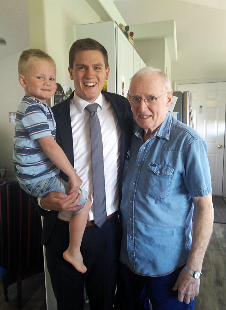 Spencer Munyan, middle, is pictured with his son, Maxwell, left, and his father, Charles Benson Munyan, on his 81st birthday.