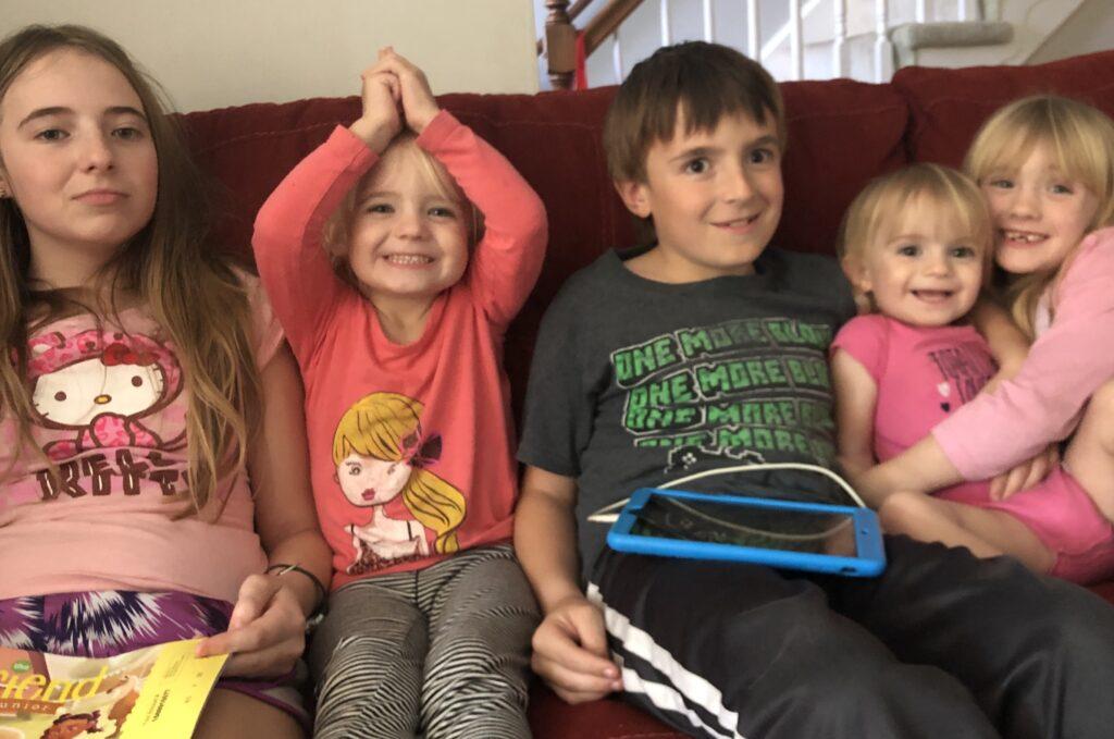 AJ Lewis' children. From left: Emily, 13; Madeline, 4; Thomas, 10; Ashley, 2; and Eleanor, 6.