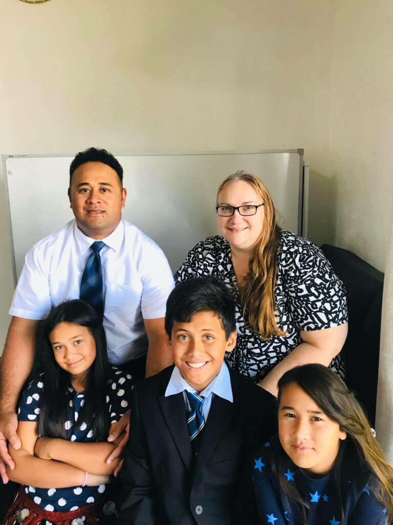 Ma'a Finau is pictured with is wife, Alice, and their three children, Emily, 7; Jacob, 10; and Olivia, 8.
