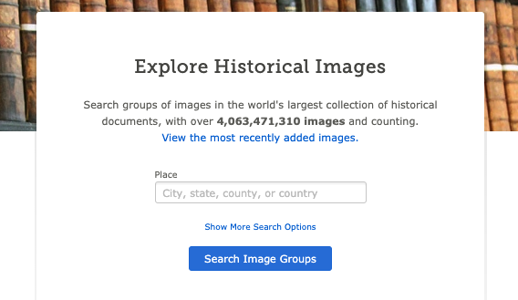 Screenshot of Explore Historical Images search bar on March 24, 2020.