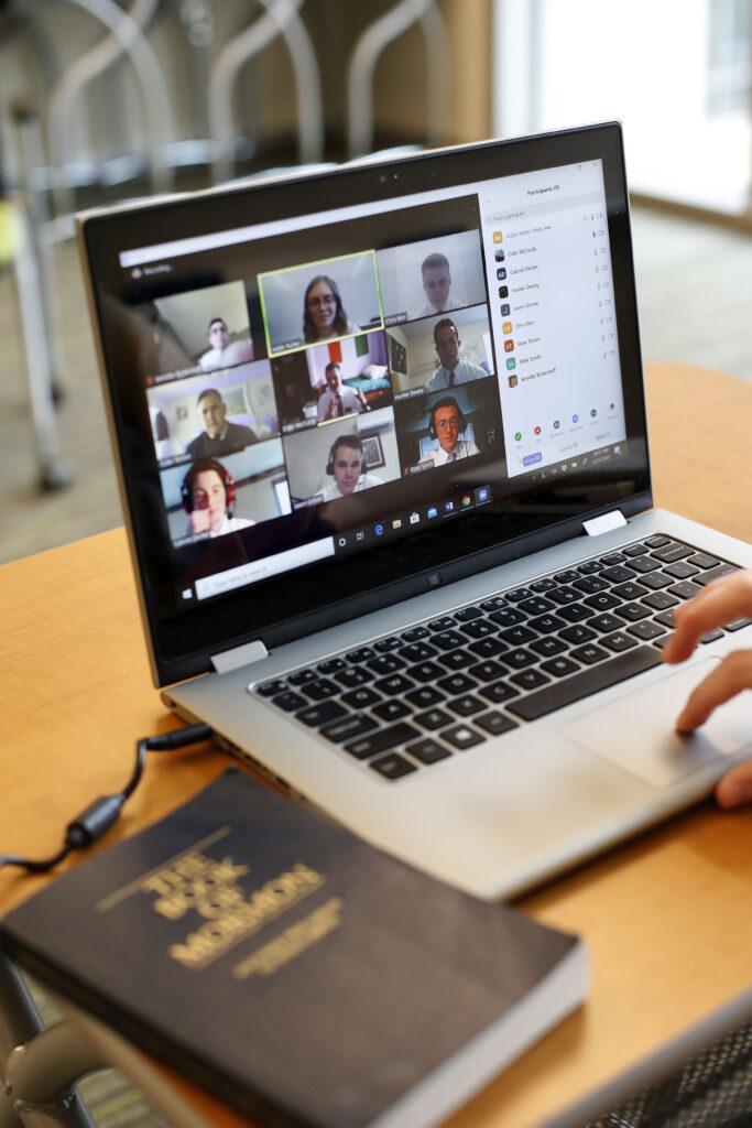 Sister Addie Rutter uses a laptop at the Provo Missionary Training Center to teach French to training missionaries at home on Wednesday, March 25, 2020. In an attempt to control the spread of COVID-19, missionaries are being trained by remote video conference rather than travel to the The Church of Jesus Christ of Latter-day Saints' 10 missionary training centers.