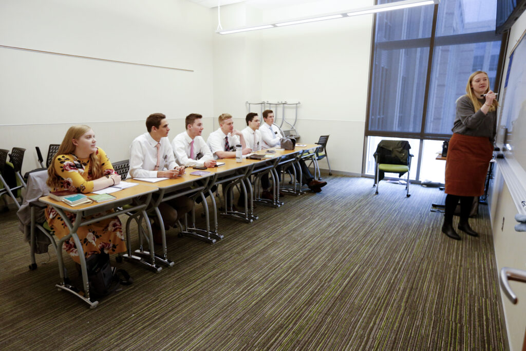 Sister Alexa Bartels, right, teaches Portuguese to Sister Anna Simmons, Elder Cole Thompson, Elder Nicholas Shipp, Elder Nicholas Lizon, Elder Devon Olsen and Elder Dawsin Merkley at the Provo Missionary Training Center on Wednesday, March 25, 2020.